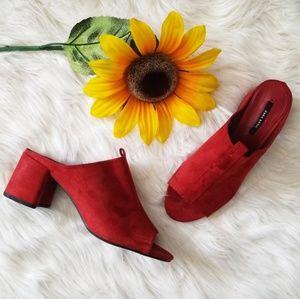 Zara Basic Red Suede Peep Toe Heeled Sandal Mule